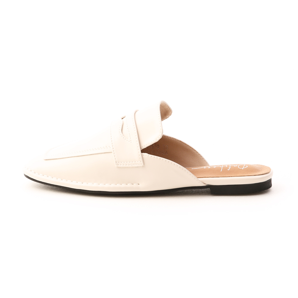 自在隨性.立體車線平底穆勒鞋 香草米白