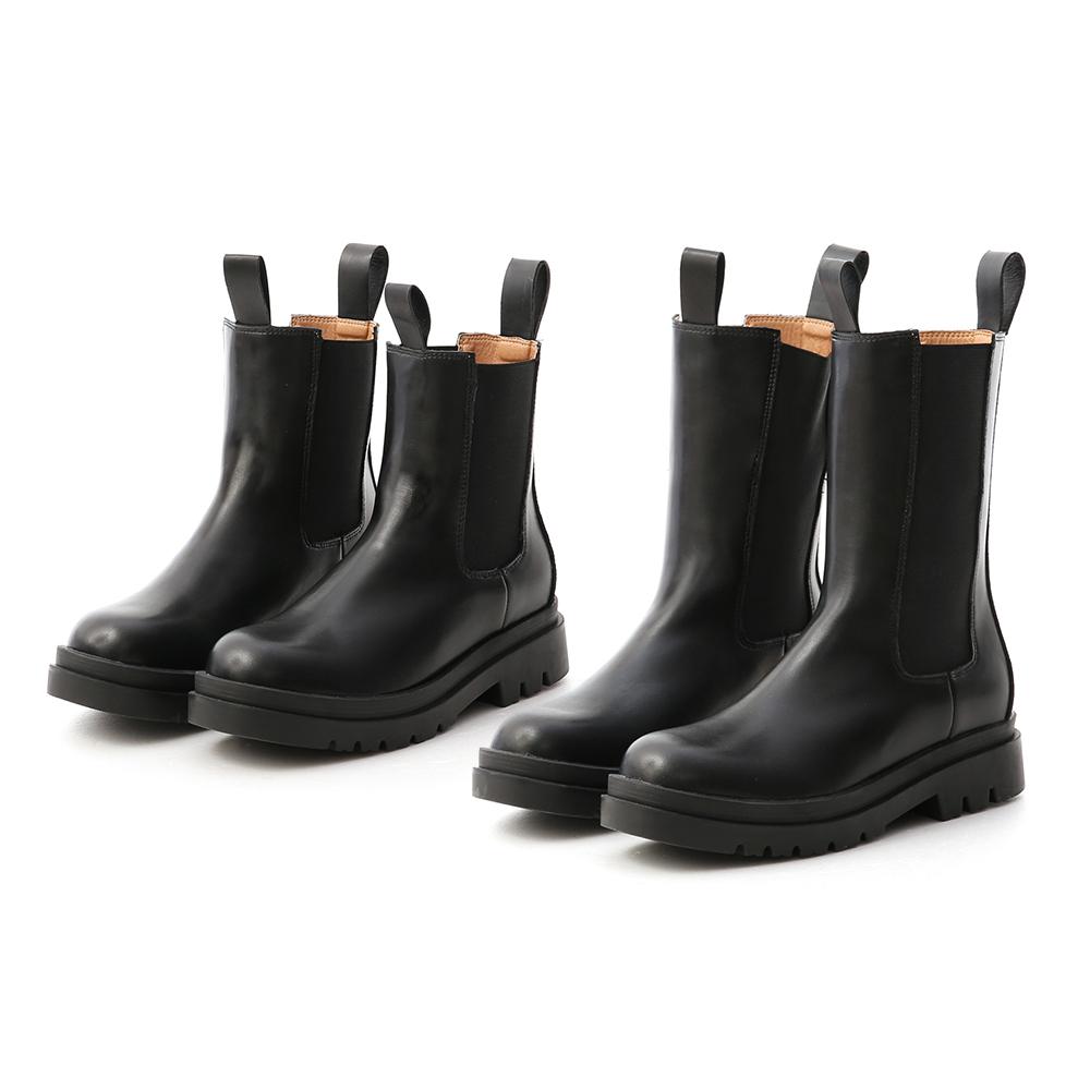 獨領風潮.加厚鞋底切爾西短靴 時尚黑