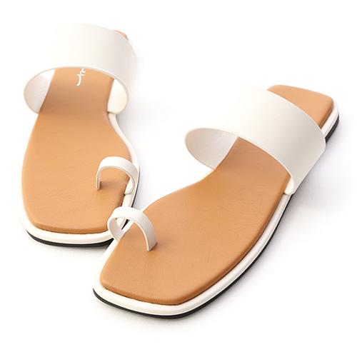 自然極簡.一字寬帶指環平底拖鞋