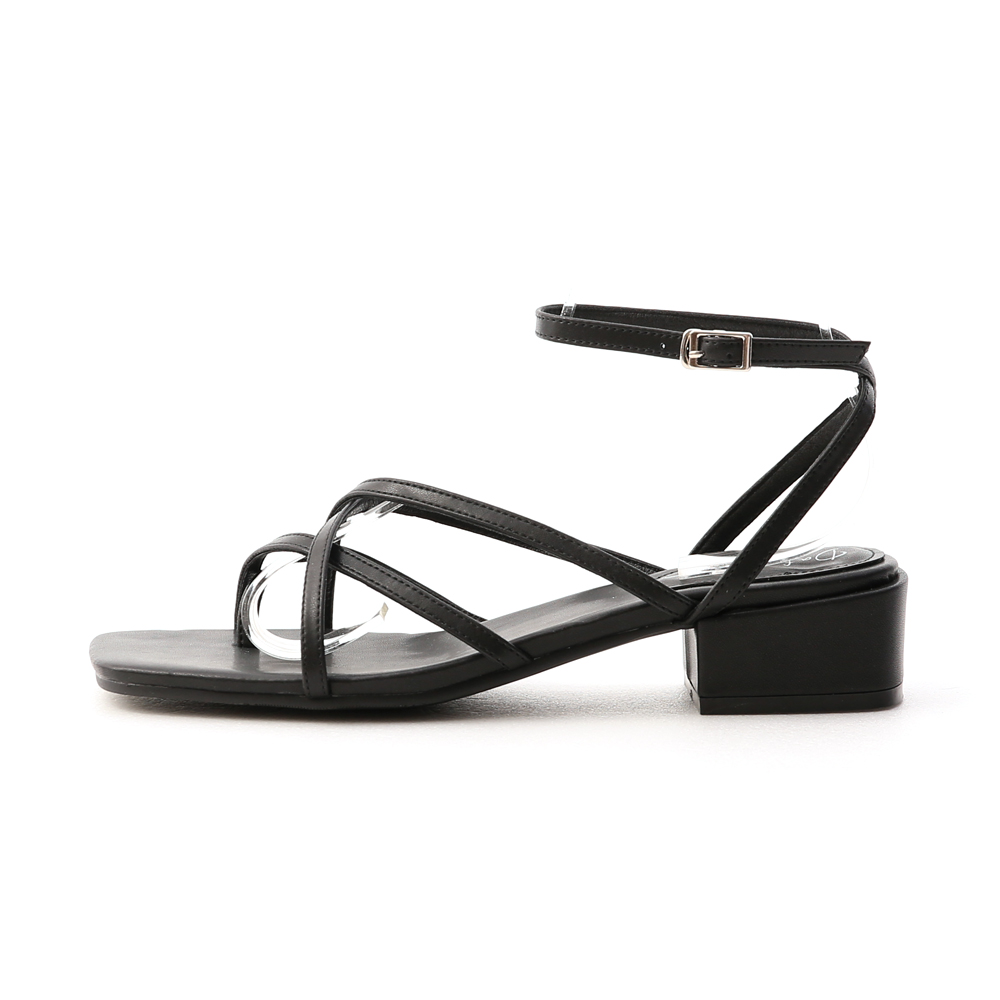 優雅夏氛.交叉細帶夾腳低跟涼鞋 時尚黑