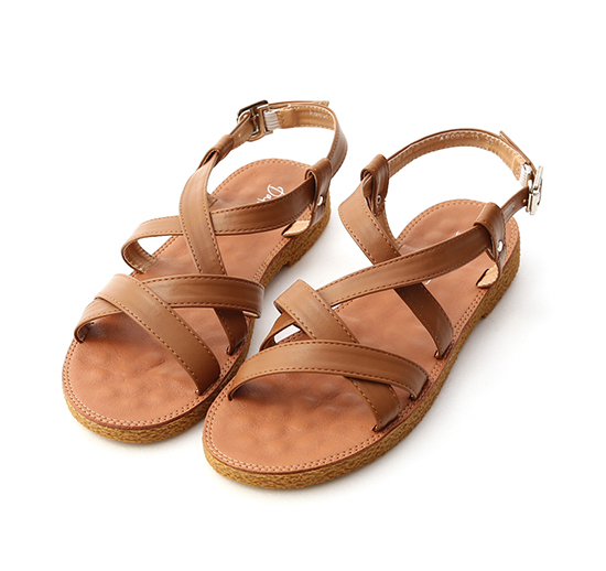Cross Strap Faux Leather Sandals Brown