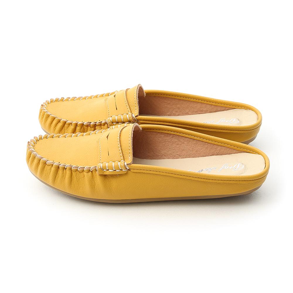 舒適假期.MIT經典款豆豆穆勒鞋 芥末黃