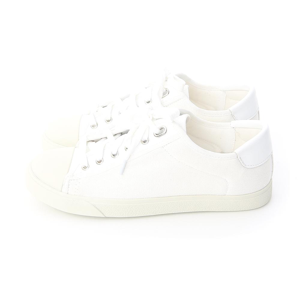 青春年代.異材質拼接帆布休閒鞋 人氣白