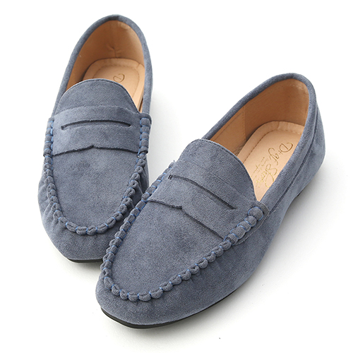 D+AF 自在輕著.經典款絨料平底樂福鞋