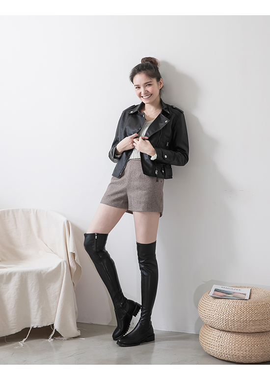 Slim Fit Over-The-Knee Boots Black
