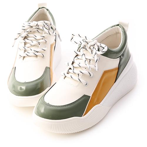 繽紛休閒.撞色拼接增高運動鞋
