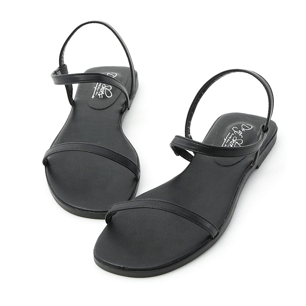 Strap Flat Sandals Black