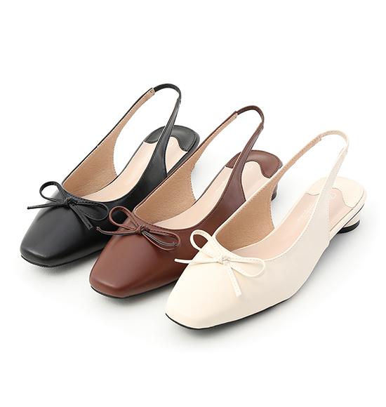 輕漾美型.小方頭後空芭蕾娃娃鞋 時尚黑