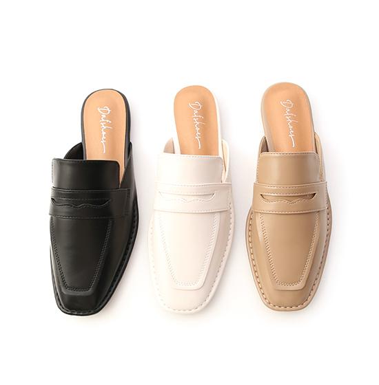 自在隨性.立體車線平底穆勒鞋 時尚黑