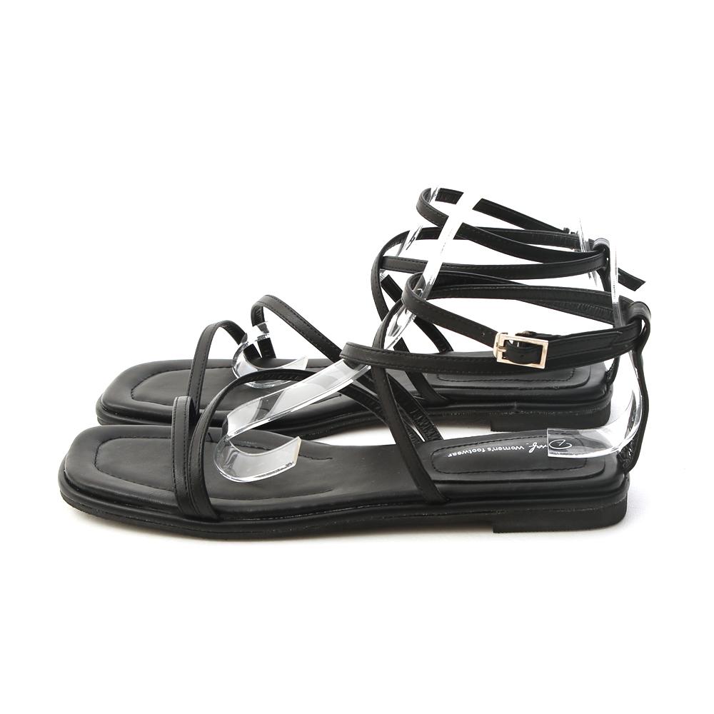 Square Toe Greek Sandals Black