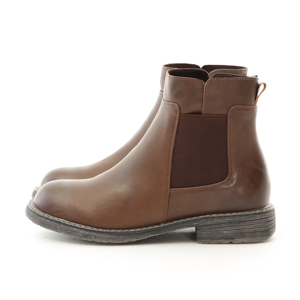 Stacked Heel Chelsea Boots Dark Brown
