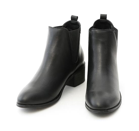 品味首選.圓頭粗跟切爾西短靴 時尚黑