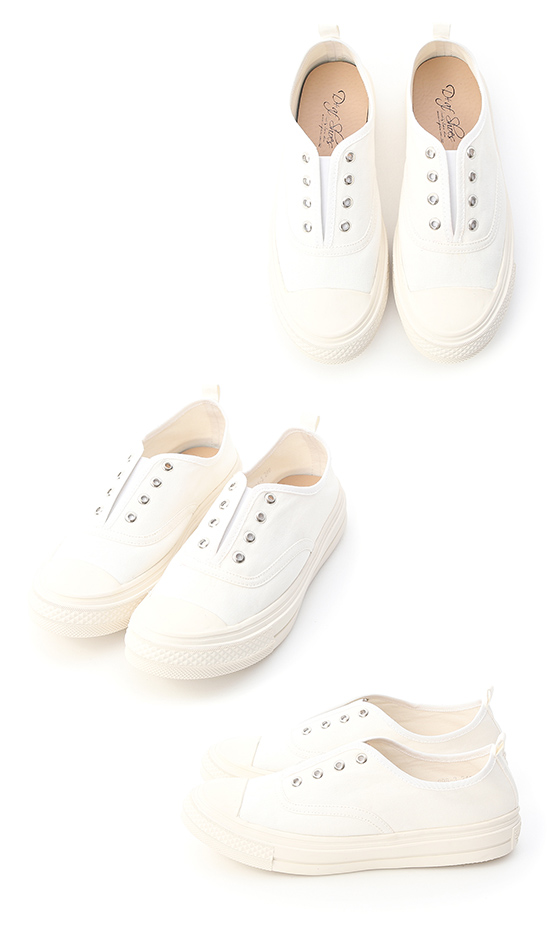 活力悠閒.無綁帶設計帆布休閒鞋 人氣白