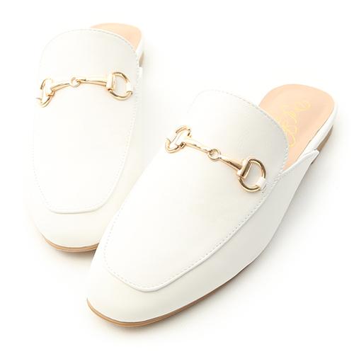 經典潮流.質感馬銜釦平底穆勒鞋