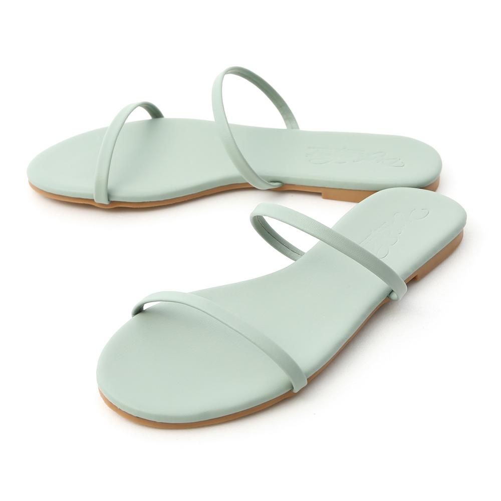清涼夏日.二條細帶平底涼拖鞋 薄荷綠