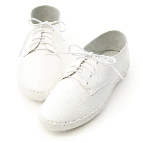 活力女孩.超軟縫線底可後踩小白鞋