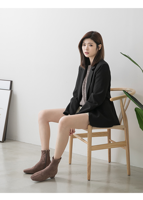 Square Toe Low Heel Sock Boots Brown