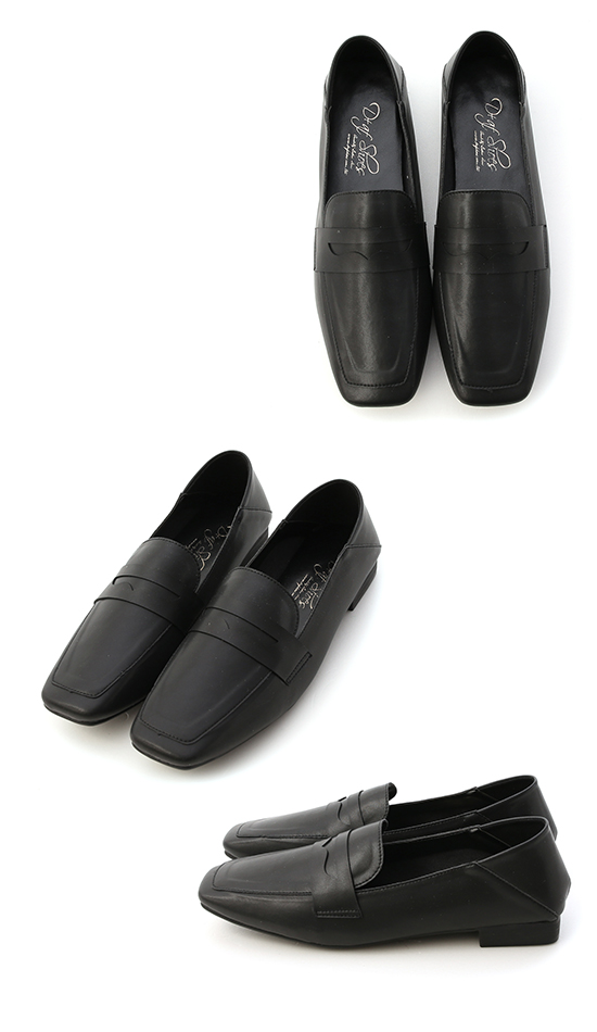 Soft Faux Leather Square Toe Loafers Black
