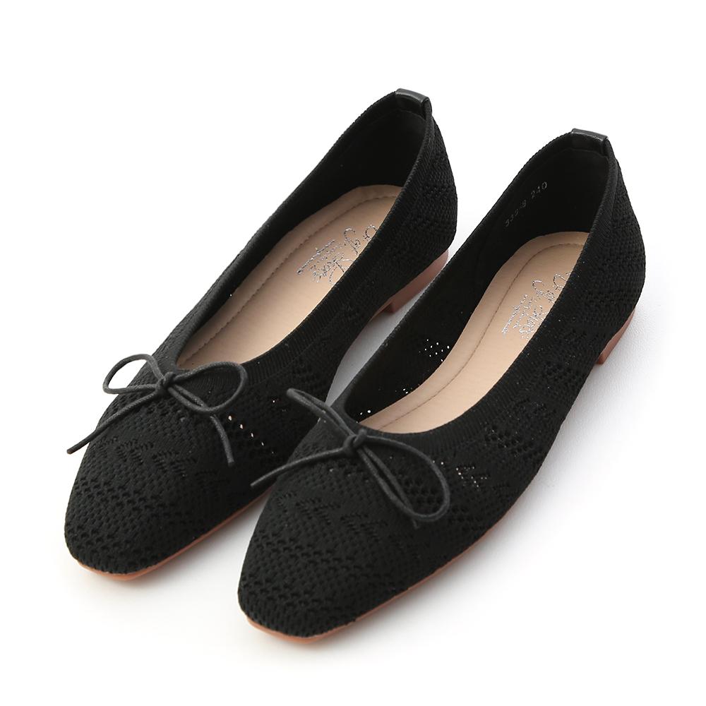 Crochet Ballet Flats Black