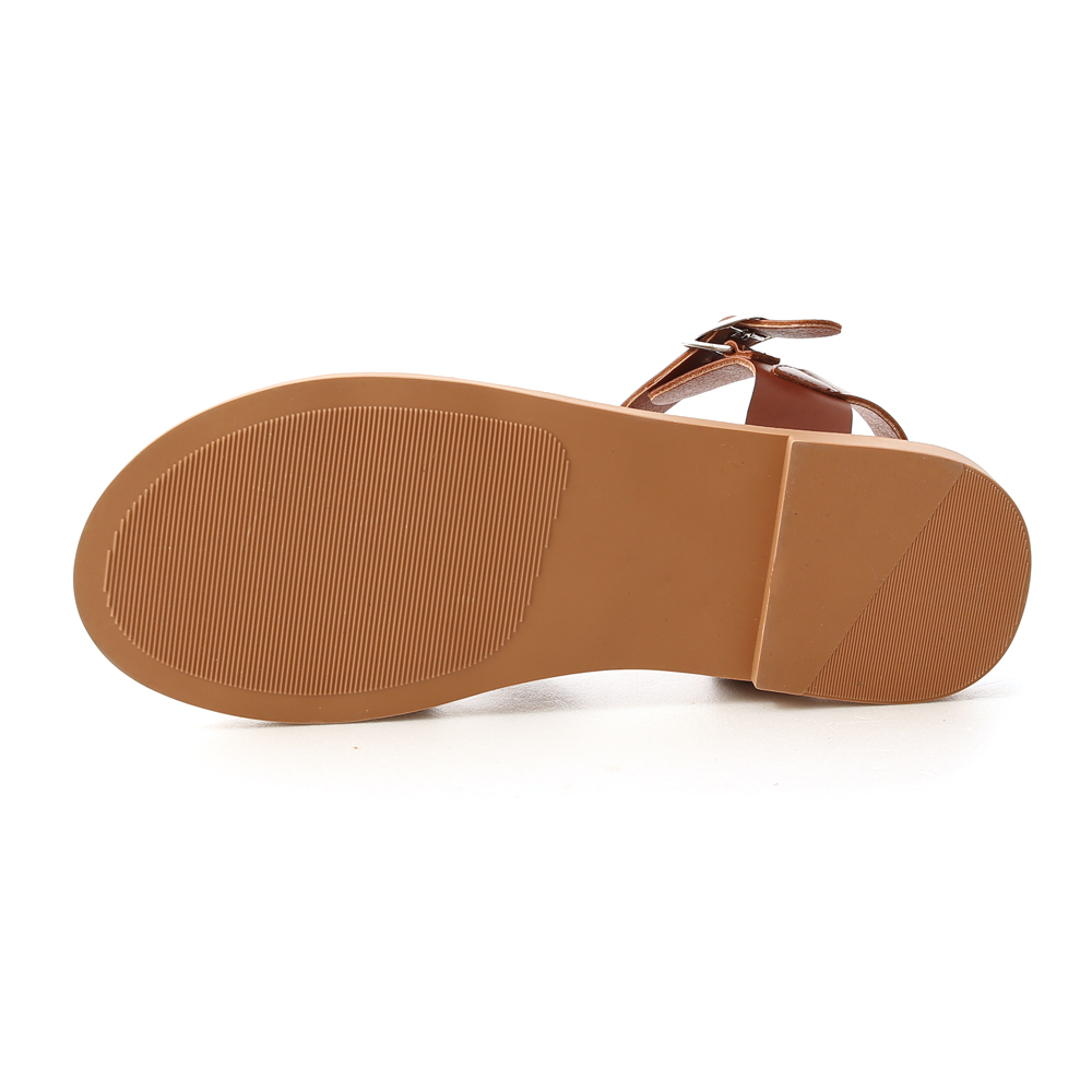 Interwoven Ankle Strap Flat Sandals Dark Brown