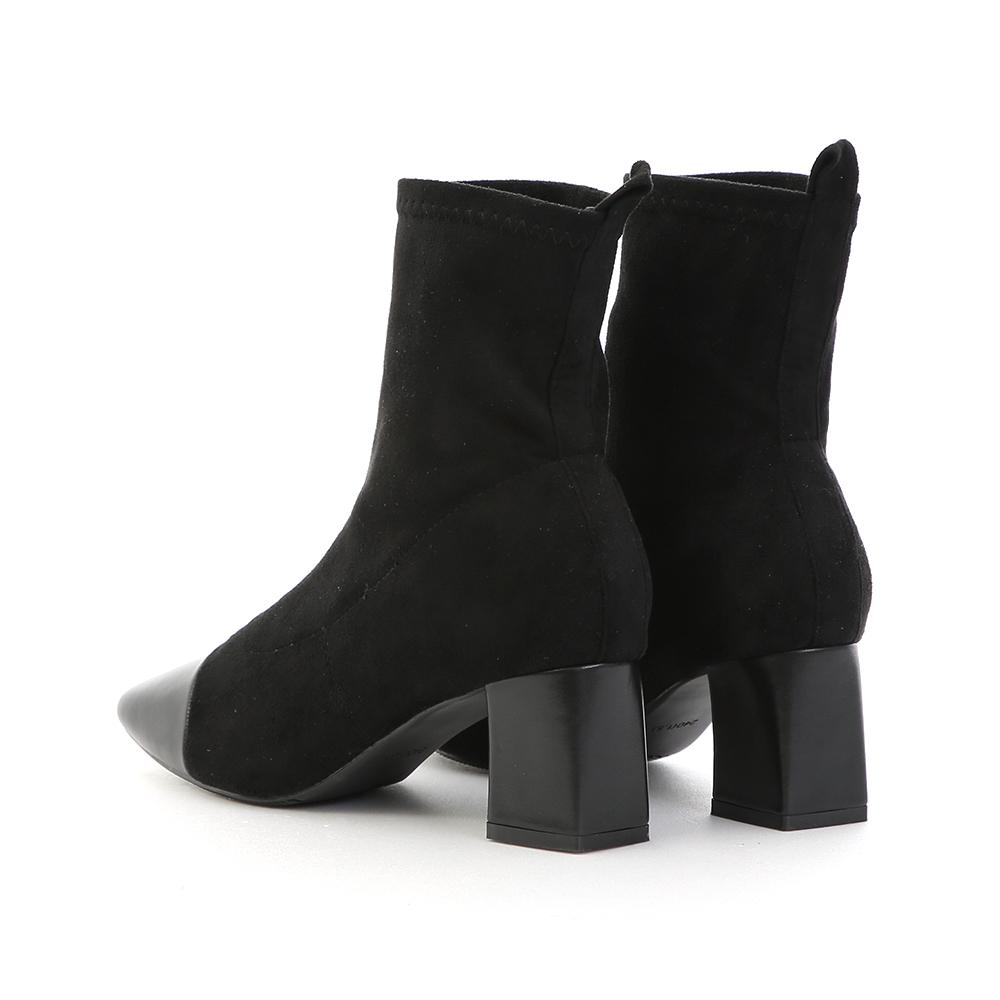 香頌美人.小香風拼接中跟襪靴 時尚黑