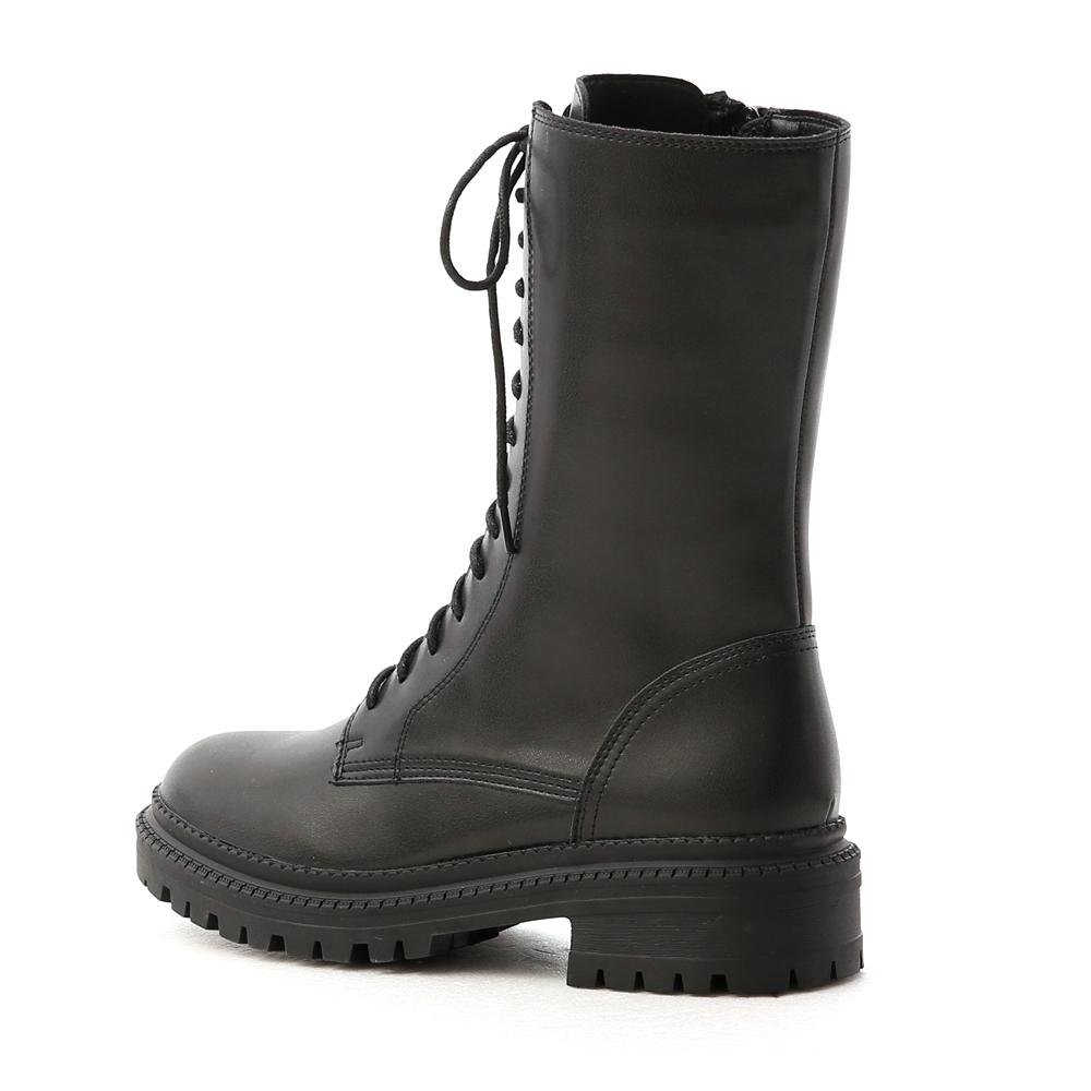 黑色風潮.厚底綁帶中筒馬汀靴 時尚黑