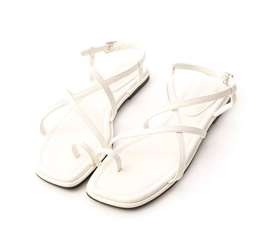 Cross Strap Toe Loop Sandals White