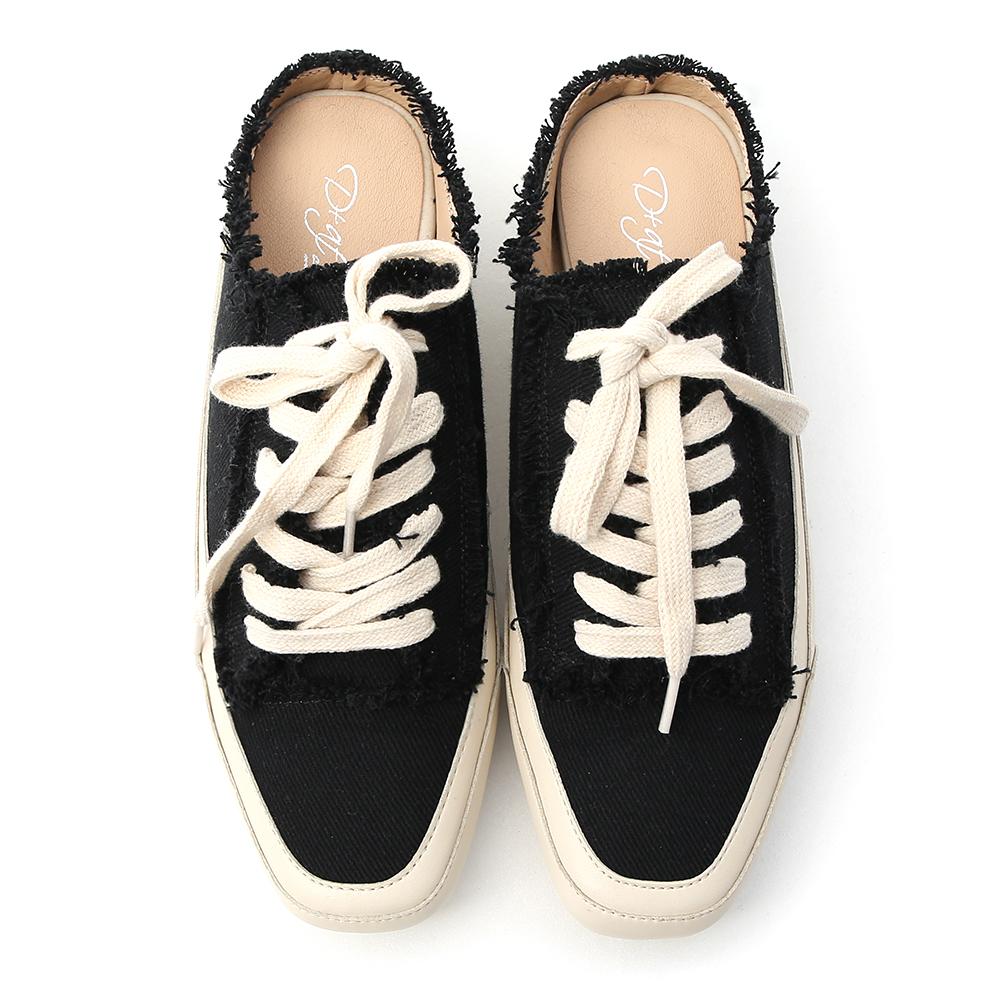 自在主打.帆布抽鬚方頭休閒穆勒鞋 時尚黑