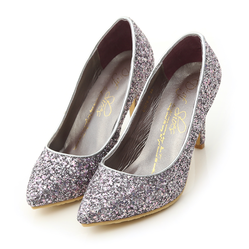 Glitter Pointed Toe High Heels Purple