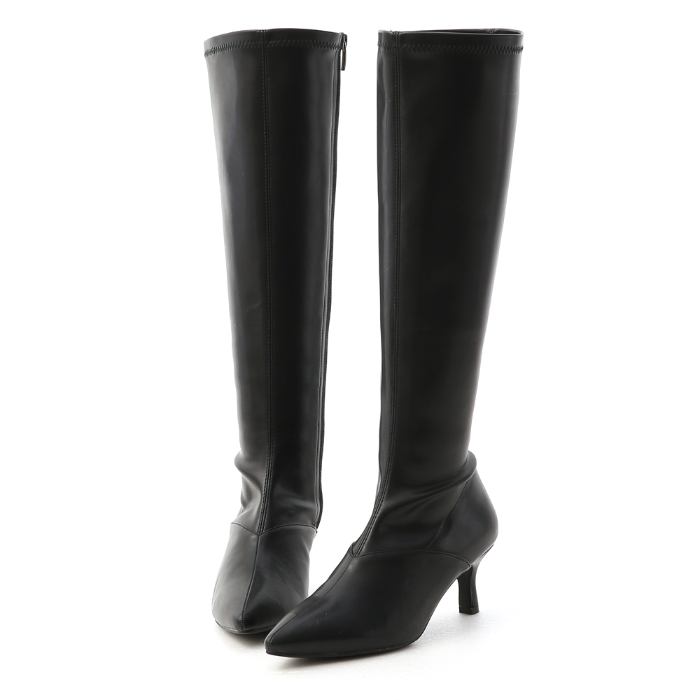 Slim-Fit Pointed Toe Tall Boots Black