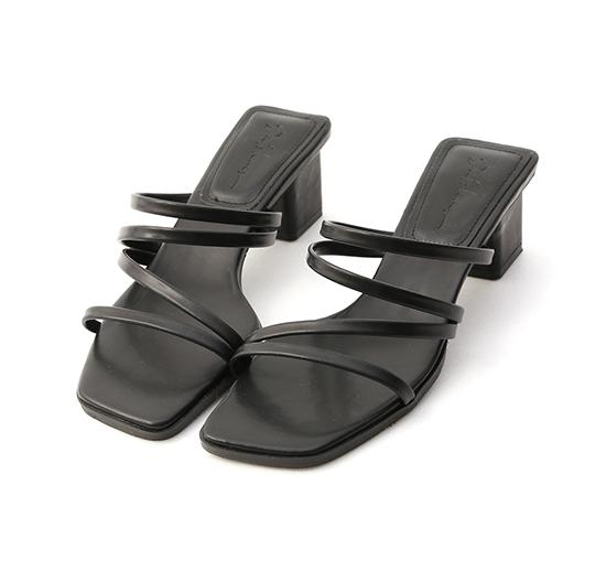 微甜氣質.四條細帶方頭中跟涼鞋 時尚黑