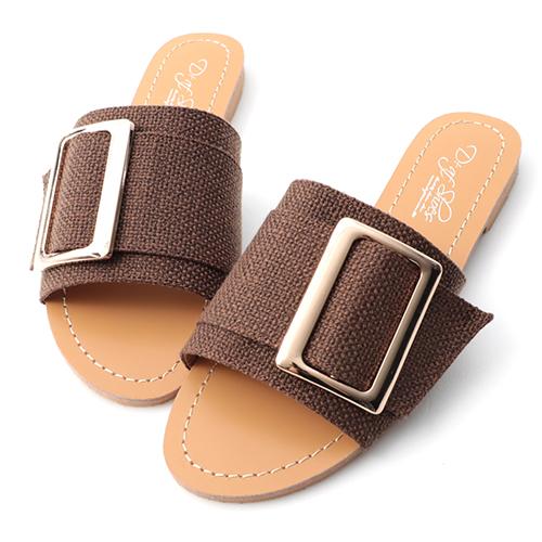 品味風尚.質感方金釦平底拖鞋