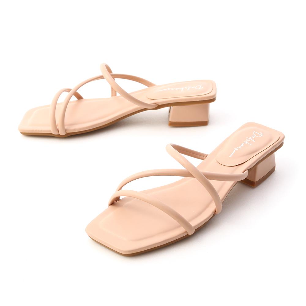 清新柔和.立體細帶低跟涼鞋 裸膚粉