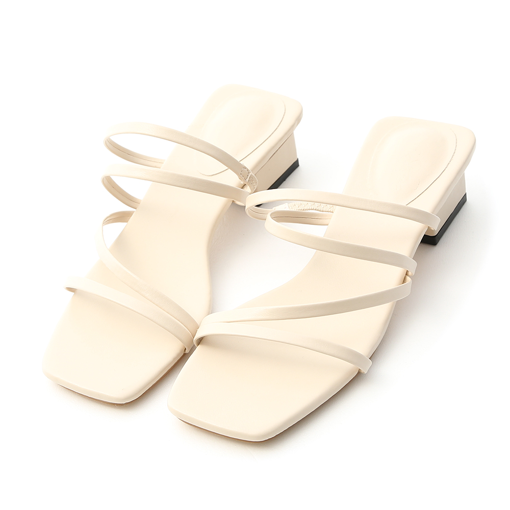 Open-Toe Strappy Low Heel Sandals French Vanilla White