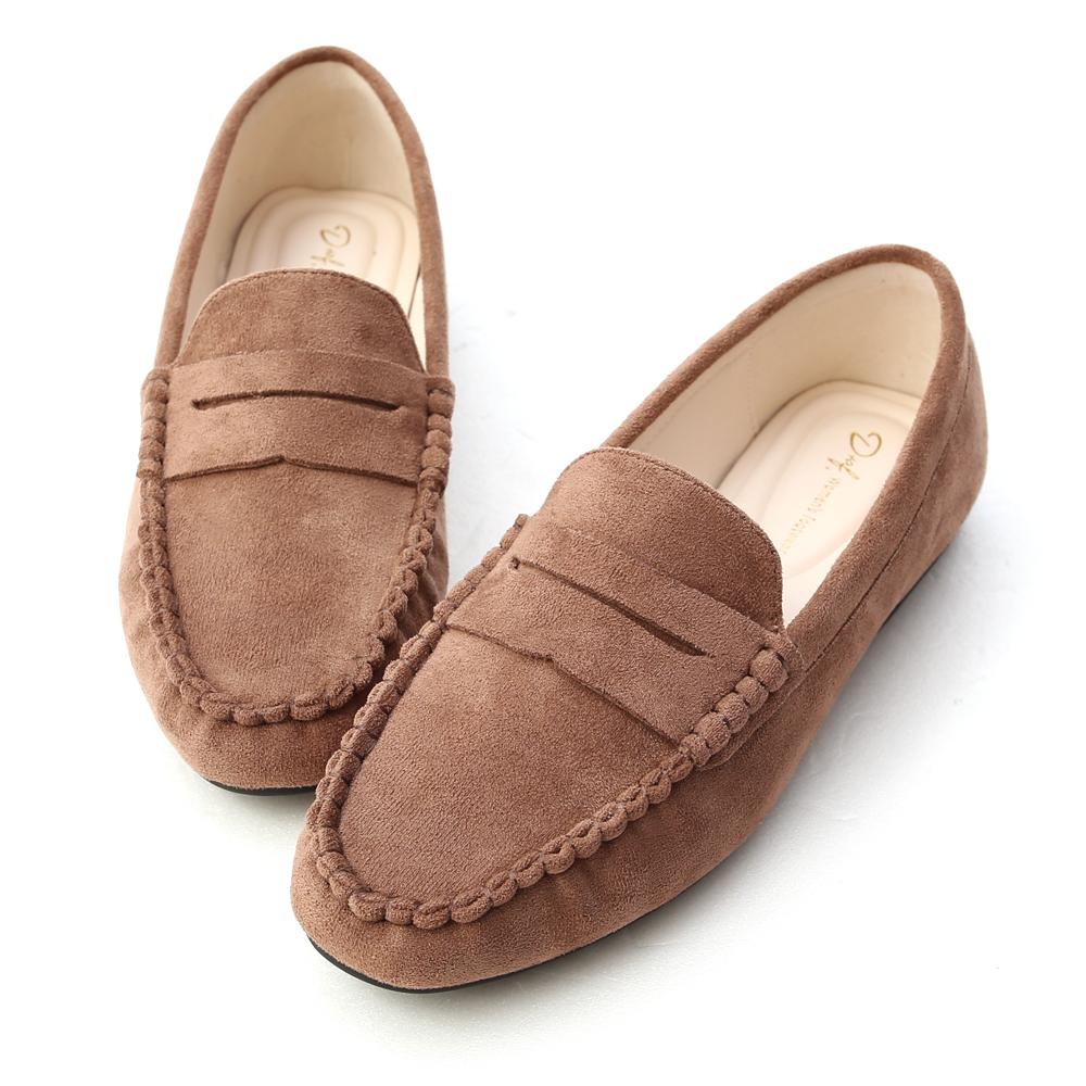 歡樂主張.經典款絨料樂福鞋 潮流棕