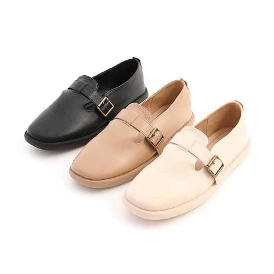 鄰家女孩.T字釦環素面平底鞋 時尚黑