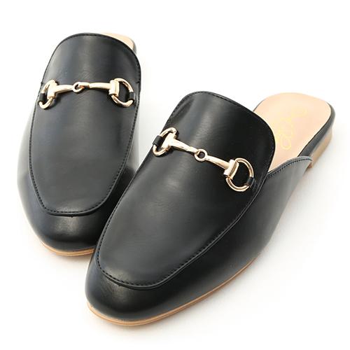 D+AF 經典潮流.質感馬銜釦平底穆勒鞋