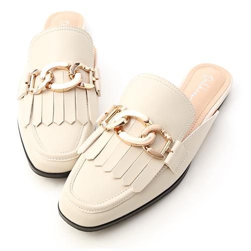 時髦專屬.金屬環釦流蘇穆勒鞋