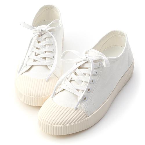 D+AF 悠閒主打.奶油頭綁帶帆布休閒鞋