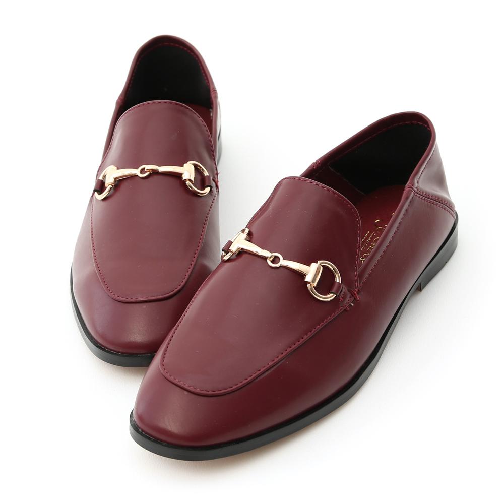 上質品味.馬銜釦後踩式二穿紳士便鞋 復古酒紅