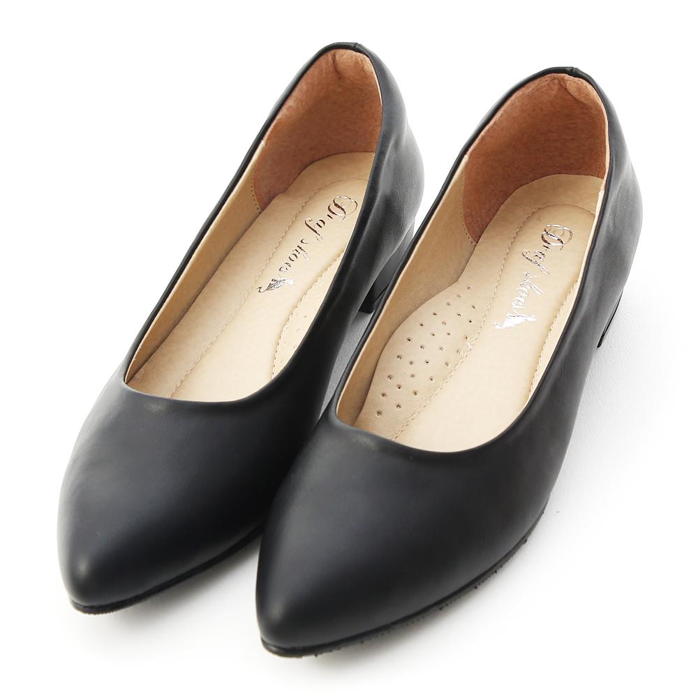 Pointed Toe Low Heel Pumps Black