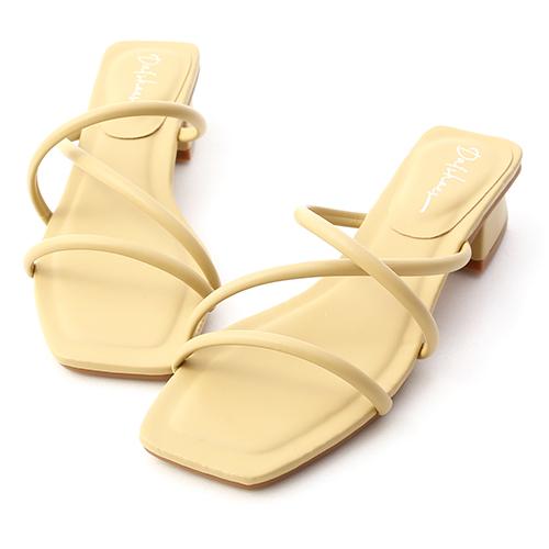 清新柔和.立體細帶低跟涼鞋(黃)
