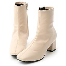 D+AF 時尚聚焦.素面皮質合腿中跟襪靴