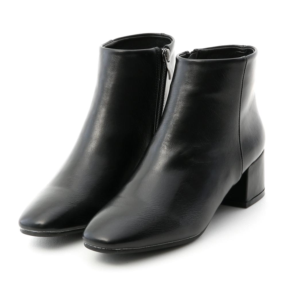 Square Toe Block Heel Ankle Boots Black