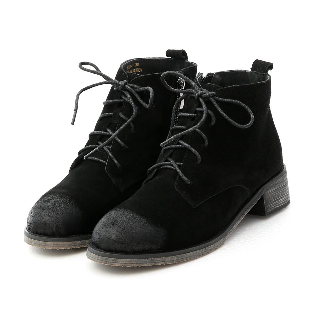 真牛麂皮刷色綁帶短靴