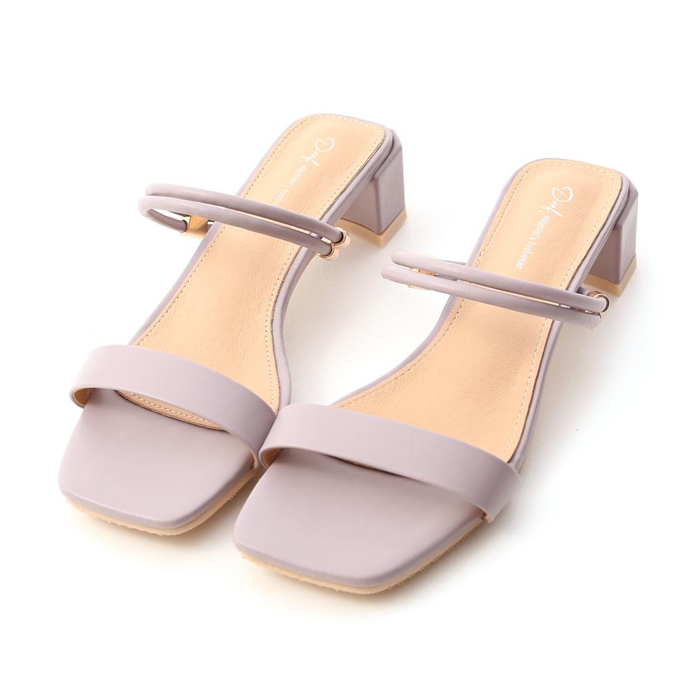 Two-Way Strap Mid Heel Sandals Lavender