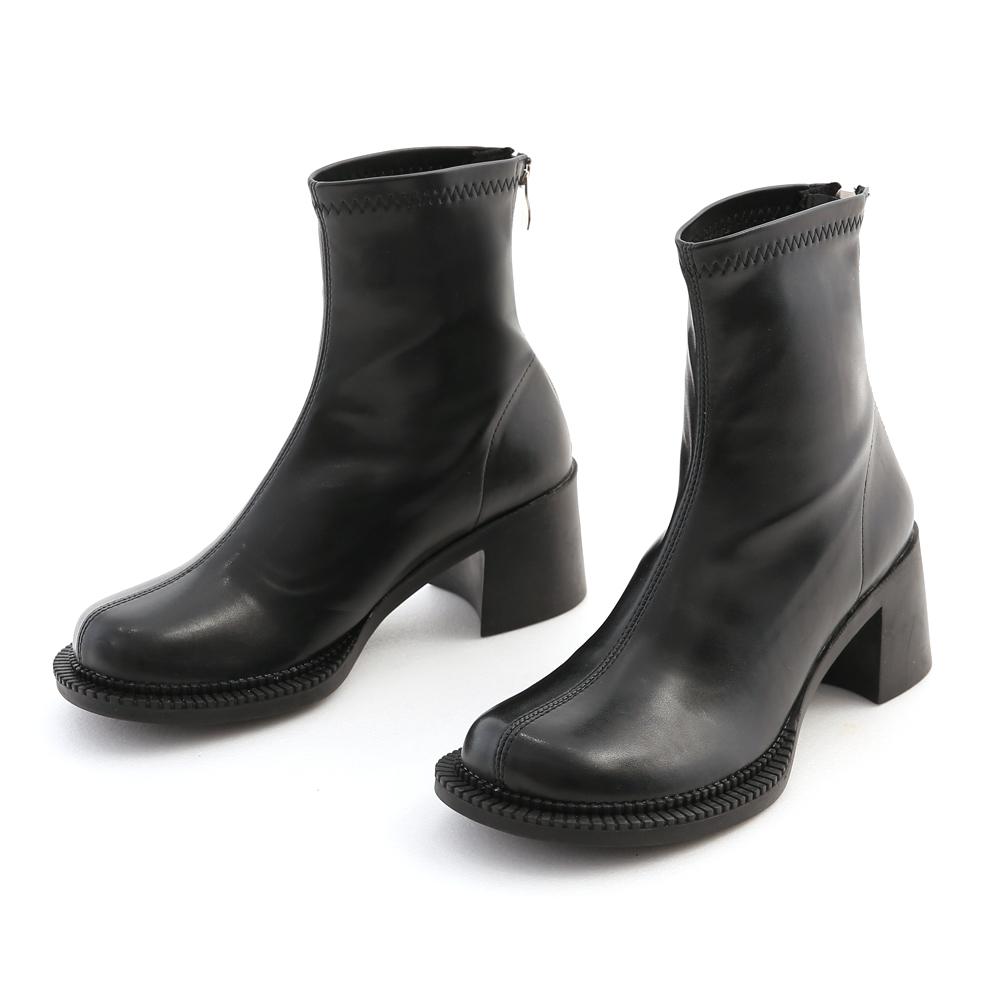 摩登個性.寬圓頭中車線粗跟襪靴 時尚黑