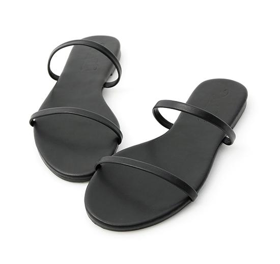 清涼夏日.二條細帶平底涼拖鞋 時尚黑