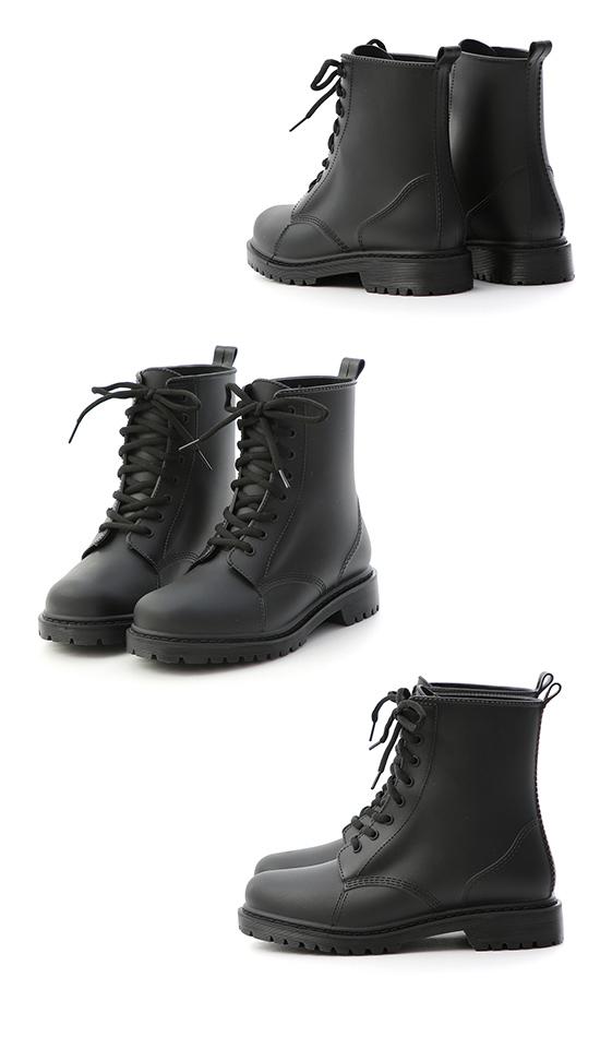 Lace-Up Combat Rain Boots Black