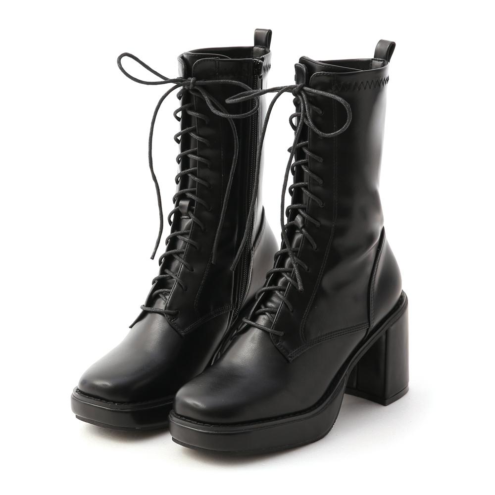 微辣個性.加厚水台方頭綁帶短靴 時尚黑